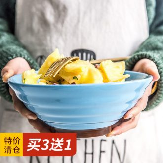 Million jia Japanese ceramics to eat rainbow noodle bowl household rainbow noodle bowl commercial hat to rainbow noodle bowl large soup bowl beef salad bowl
