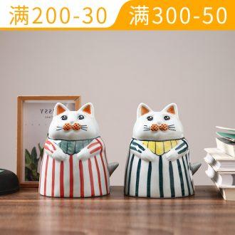 Ceramic plutus cat furnishing articles piggy Banks sitting room bedroom desk piggy bank home decoration cartoon birthday gift
