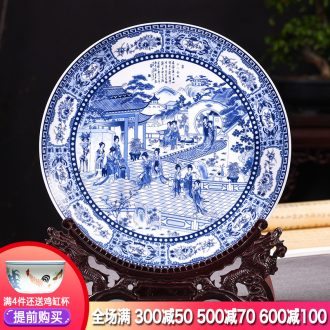 Jingdezhen ceramics archaize hang dish of blue and white porcelain plate furnishing articles new Chinese style living room decoration decoration plate