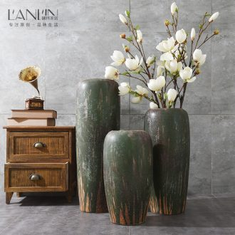 Jingdezhen retro landing handmade pottery vase large household vase furnishing articles sitting room porch flower arrangement suits