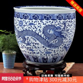 Jingdezhen ceramics large brocade carp goldfish bowl water lily hand-painted blue dragon tortoise cylinder household adornment furnishing articles