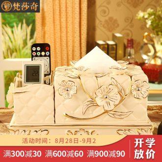 Vatican Sally's sitting room luxury european-style tissue box multi-purpose ceramic smoke box receive remote desktop furnishing articles