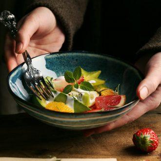 Ceramic web celebrity artistic conception food tableware rainbow noodle bowl soup plate under the glaze color bowl Chinese food bowl of fruit salad bowl