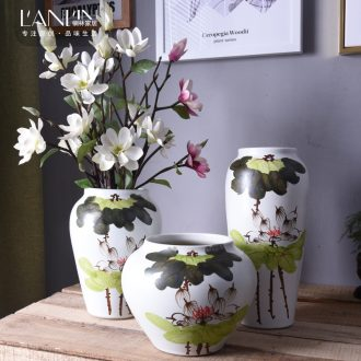 Jingdezhen ceramic vase sitting room porch flower arranging new Chinese style adornment hand-painted porcelain arts and crafts furniture furnishing articles