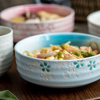 Million fine ceramics la rainbow noodle bowl Japanese noodles bowl of soup bowl dish bowl of salad bowl bowl students rainbow noodle bowl household tableware