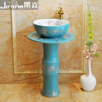 JingYanZhu type column type vertical lavatory sink art ceramic basin floor integrated basin to post