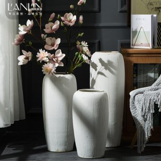 Ground vase large white living room the dried flower art contemporary household coarse pottery Chinese ceramic pottery house furnishing articles