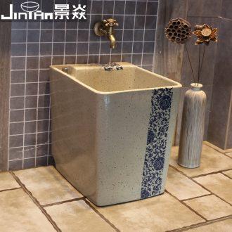Blue and white hook rattan JingYan pool of Chinese ceramic art mop mop pool household mop pool tank floor mop pool