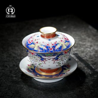 DH jingdezhen colored enamel tureen ceramic cups hand-painted three bowl of tea set gift home tea bowl