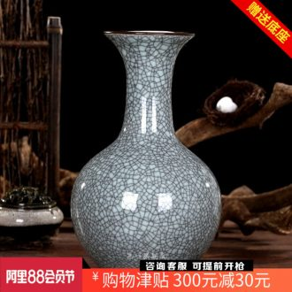 Archaize kilns were a piece of crack blue glaze flower bottles of jingdezhen ceramics classic modern home act the role ofing is tasted furnishing articles in the living room