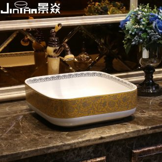 JingYan American art stage basin square ceramic lavatory household toilet stage basin Europe type on the sink