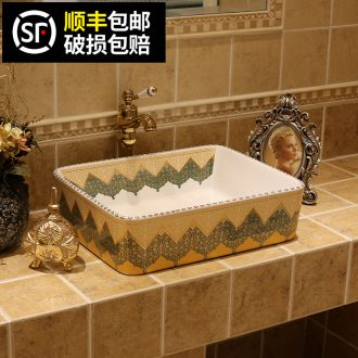 JingYan restoring ancient ways on the Mediterranean basin art basin rectangle ceramic lavatory basin American on the sink