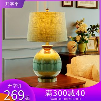 New Chinese style is contemporary and contracted ceramic desk lamp bedroom berth lamp of creative personality sitting room study typhoon warm marriage