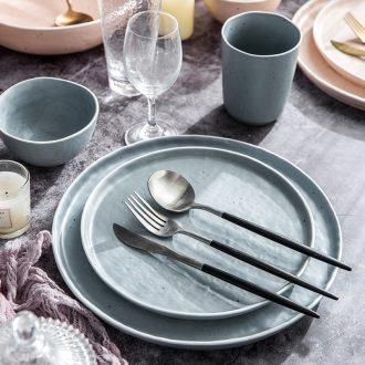Million fine Korean ceramic tableware steak dishes home plate plate plate job one single breakfast food suits