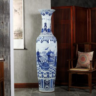Jingdezhen ceramics super-large hand-painted hotel opening gifts sitting room adornment is placed large blue and white porcelain vase