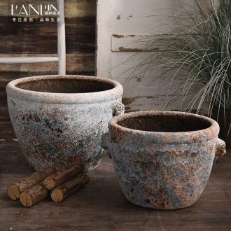 Ceramic antique VAT coarse pottery handmade head big flowerpot tank floor furnishing articles courtyard garden bucket basin to plant trees