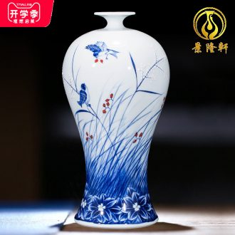Jingdezhen ceramics hand-painted household adornment blue and white porcelain vase wine porch sitting room TV ark furnishing articles