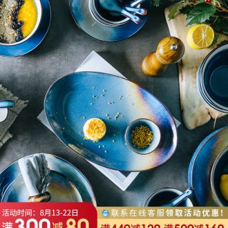 Million fine ceramic tableware suit northern dishes literary restoring ancient ways of eating food good creative personality bowl home plate