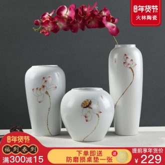 Jingdezhen modern new Chinese style ceramic vase lucky bamboo dried flowers sitting room Japanese zen home decoration furnishing articles