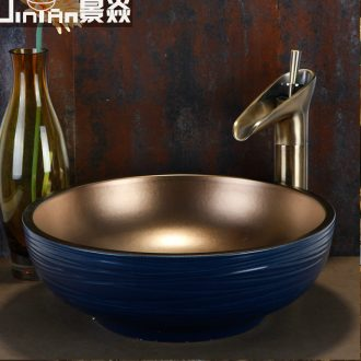 JingYan Nordic art stage basin contracted wind restoring ancient ways round ceramic lavatory color archaize on the sink