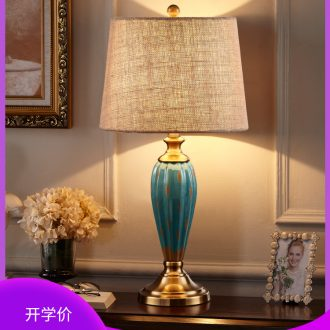American retro desk lamp lamp of bedroom the head of a bed European creative ceramic contracted and contemporary sitting room warm wedding marriage room lamp