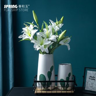 Ins small pure and fresh and ceramic vase Nordic cactus flower arranging flower implement creative furnishing articles home sitting room decorate the study