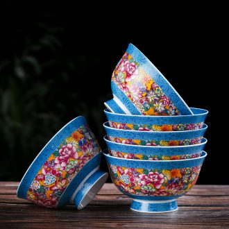 Chinese creative household tableware ceramic bowl to eat bowl 10 sets 10 only combination porringer bone porcelain rice bowls