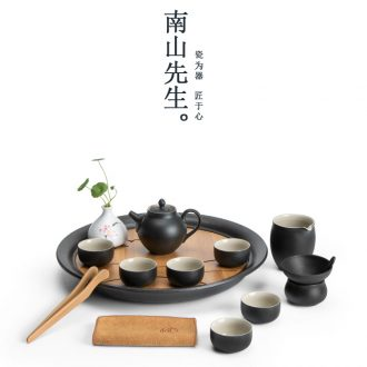 Mr Nan shan south wild goose black pottery tea set of household ceramic teapot teacup storage type dry tea tray