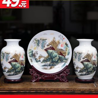 Three-piece vase furnishing articles of jingdezhen ceramics new Chinese style household decorates sitting room dry flower arranging flowers small handicraft