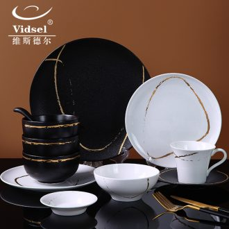 Nordic bone bowls disc suit black and white light luxury contracted ceramic tableware suit household bowl dish a single combination