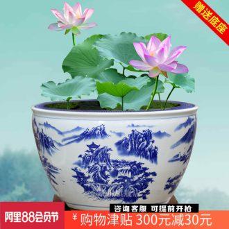 Blue and white porcelain of jingdezhen ceramics tortoise cylinder lotus potted landscape painting a goldfish bowl sitting room place basin study