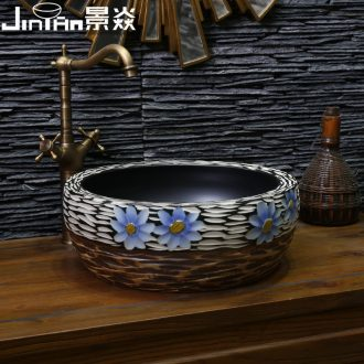 JingYan sculpture art restoring ancient ways the stage basin of jingdezhen ceramic sinks circular basin basin on the sink