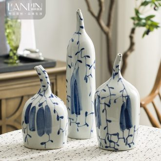 Ceramic vase furnishing articles sitting room furniture put dry flower contracted and contemporary art decorative flower implement wind blue and white porcelain arts and crafts