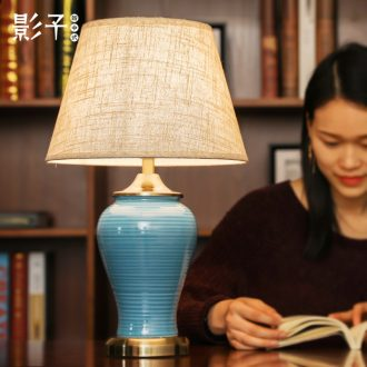 Ceramic lamp lamp of bedroom the head of a bed American contemporary and contracted hotels sitting room of Europe type restoring ancient ways of new Chinese style adornment lamps and lanterns