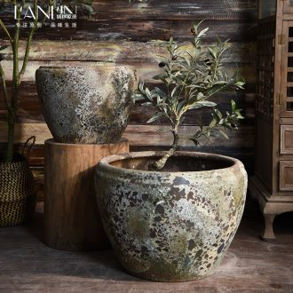 Ceramic antique VAT coarse pottery oversized lotus hand round the altar tank flowerpot landing place courtyard garden