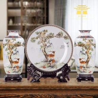 Jingdezhen ceramics three-piece floret bottle of Chinese style household living room TV cabinet decoration crafts are arranging flowers