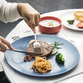 Steak dinner plate Nordic western flat shallow dish home dish dish dish suits red ceramic tableware ikea European network