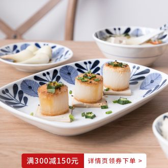 Million jia Japanese Japanese and wind household crockery bowl rainbow noodle bowl soup bowl dish dish dish dish of green leaf
