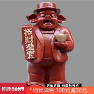 Jingdezhen violet arenaceous pig boss lucky money and place of the sitting room of Chinese style household mesa craft ornaments