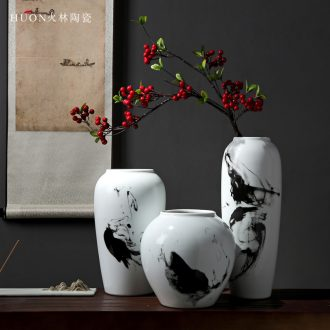 Forest fire ceramics jingdezhen ceramics hand draw freehand brushwork in traditional Chinese ink and wash the vase flower place porch sitting room beautiful decoration