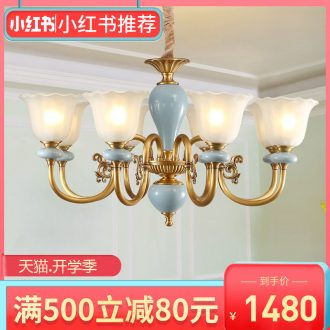 Any lift european-style full copper chandelier lamps and lanterns of the sitting room is contracted American bedroom creative personality ceramic lamp hall restaurant