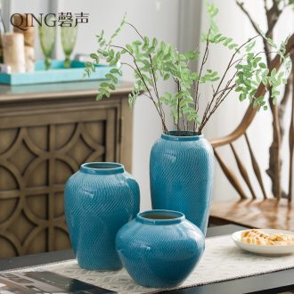 Jingdezhen ceramic dry flower vase furnishing articles table sitting room adornment flower arrangement of Chinese style household style originality