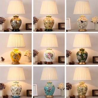 Desk lamp of bedroom the head of a bed lamp sitting room of new Chinese style restoring ancient ways American European rural warm warm light ceramic desk lamp of remote control