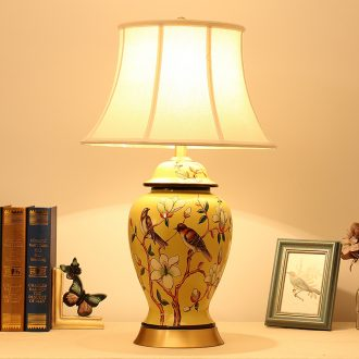 Bedroom living room Chinese American European pastoral show large painted yellow flower on ceramic copper bedside lamp