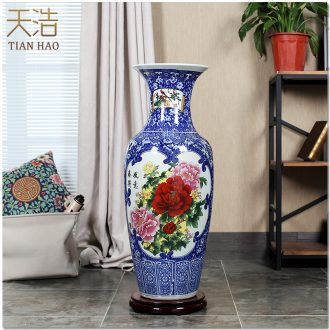 Jingdezhen blue and white vase of large sitting room contemporary household ceramics handicraft ceramic vase furnishing articles