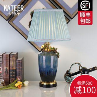 Cartel colored enamel porcelain lamp sitting room luxury atmosphere type villa crystal lamp of bedroom the head of a bed