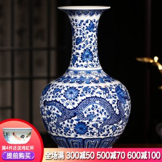 Jingdezhen ceramics hand-painted dragon pattern of blue and white porcelain vase flower arrangement of new Chinese style living room office wine furnishing articles