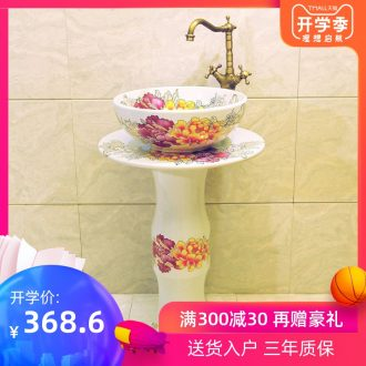 JingXiangLin basin of jingdezhen ceramic art basin set column lavatory basin three-piece & ndash; Riches and honour chrysanthemum