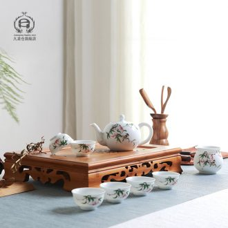 DH hand-painted pastel kung fu tea set jingdezhen contracted household ceramics cup teapot cup