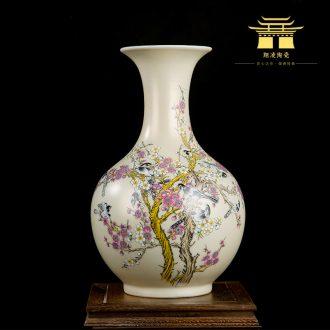 Jingdezhen ceramics powder enamel magpie flower vase home sitting room place Chinese office decoration